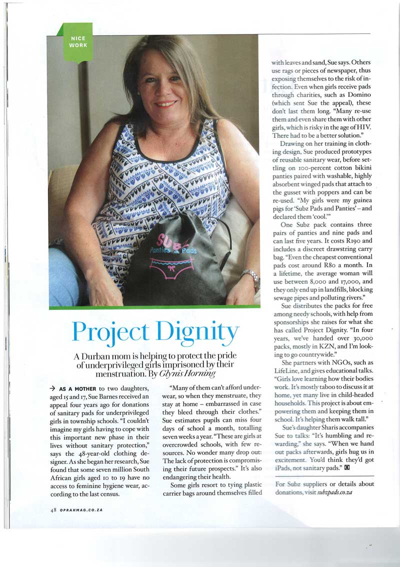 Project Dignity Oprah Magazine June 2014